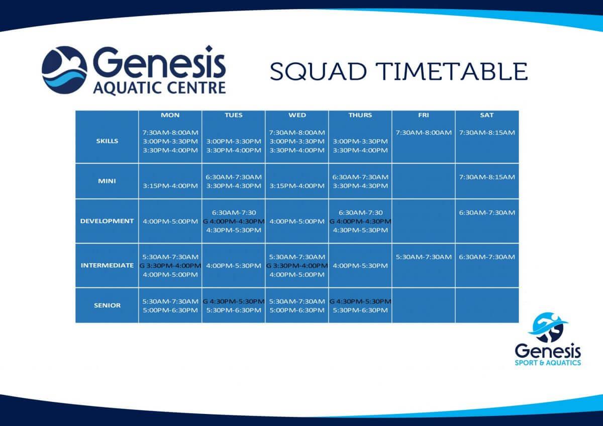 Genesis Sport & Aquatics Swim Squad Timetable